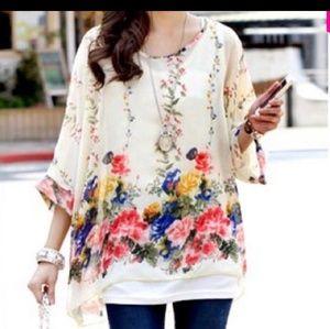 Floral Dolman Sleeve Semi-sheer Blouse